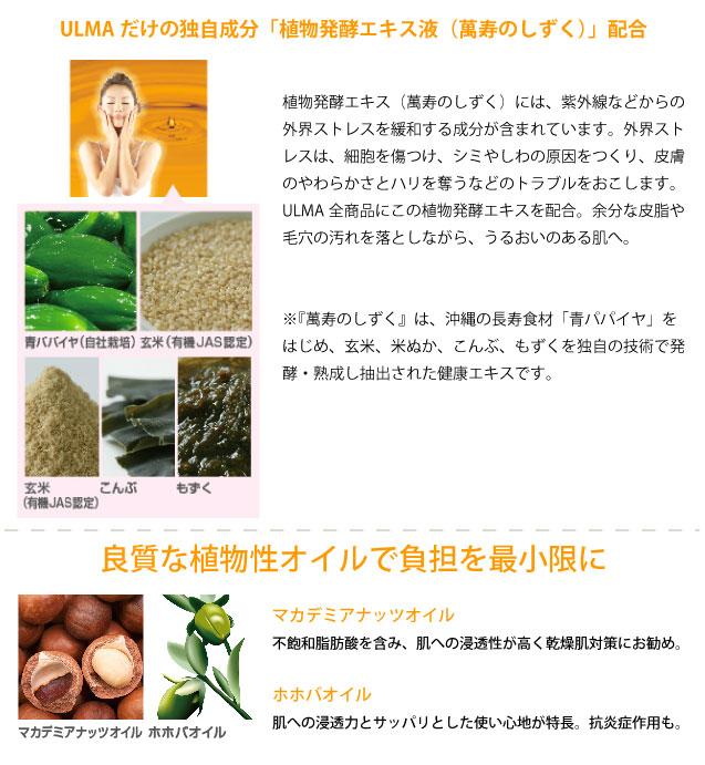 ULMAだけの独自成分「植物発酵エキス液(萬寿のしずく)」配合植物発酵エキス(萬寿のしずく)には、紫外線などからの外界ストレスを緩和する成分が含まれています。外界ストレスは、細胞を傷つけ、シミやしわの原因をつくり、皮膚のやわらかさとハリを奪うなどのトラブルをおこします。ULMA全商品にこの植物発酵エキスを配合。余分な皮脂や毛穴の汚れを落としながら、うるおいのある肌へ。※『萬寿のしずく』は、沖縄の長寿食材「青パパイヤ」をはじめ、玄米、米ぬか、こんぶ、もずくを独自の技術で発酵・熟成し抽出された健康エキスです。 良質な植物性オイルで負担を最小限に マカデミアナッツオイル不飽和脂肪酸を含み、肌への浸透性が高く乾燥肌対策にお勧め。ホホバオイル肌への浸透力とサッパリとした使い心地が特長。抗炎症作用も。